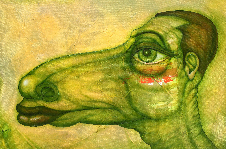 Perfil del hombre futuro, 24 X 36 pulgadas, acrílico y óleo sobre tela, 3900 CAD